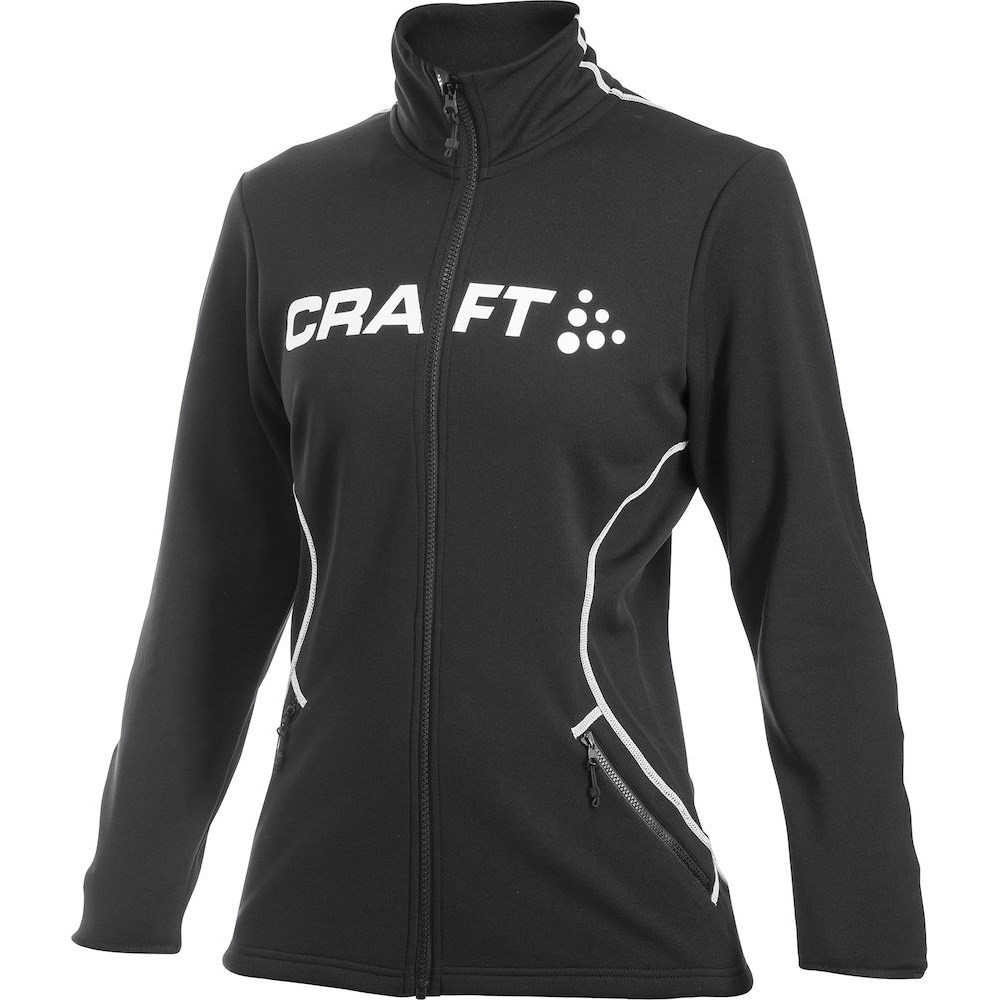 Craft Logo Full Zip Womens Running Cycling Jacket - Black White ... 6ad847e3b